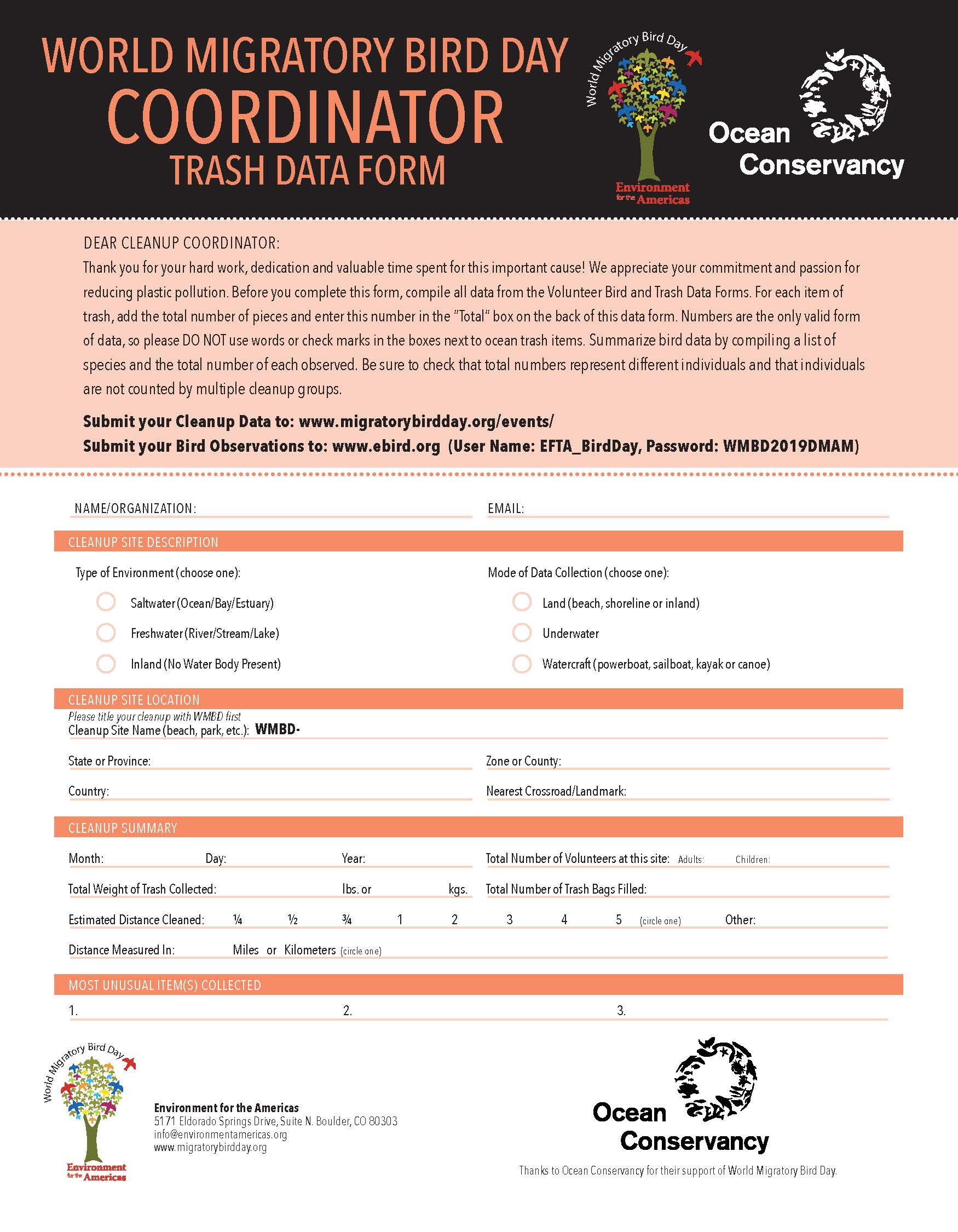 2019 WMBD Plastic Cleanup Data Sheets